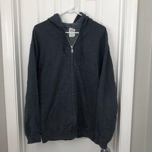 Gray Zip Up Gildan Hoodie / Sweatshirt